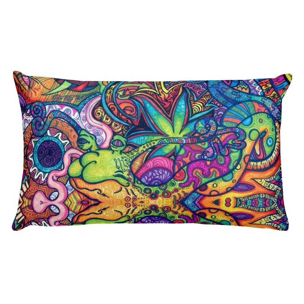 Trippy Weed Rectangular Pillow - Hipsters Wonderland - Tumblr Clothing - Tumblr Accessories- Aesthetic Clothing - Aesthetic Accessories - Hipster's Wonderland - Hipsterswonderland