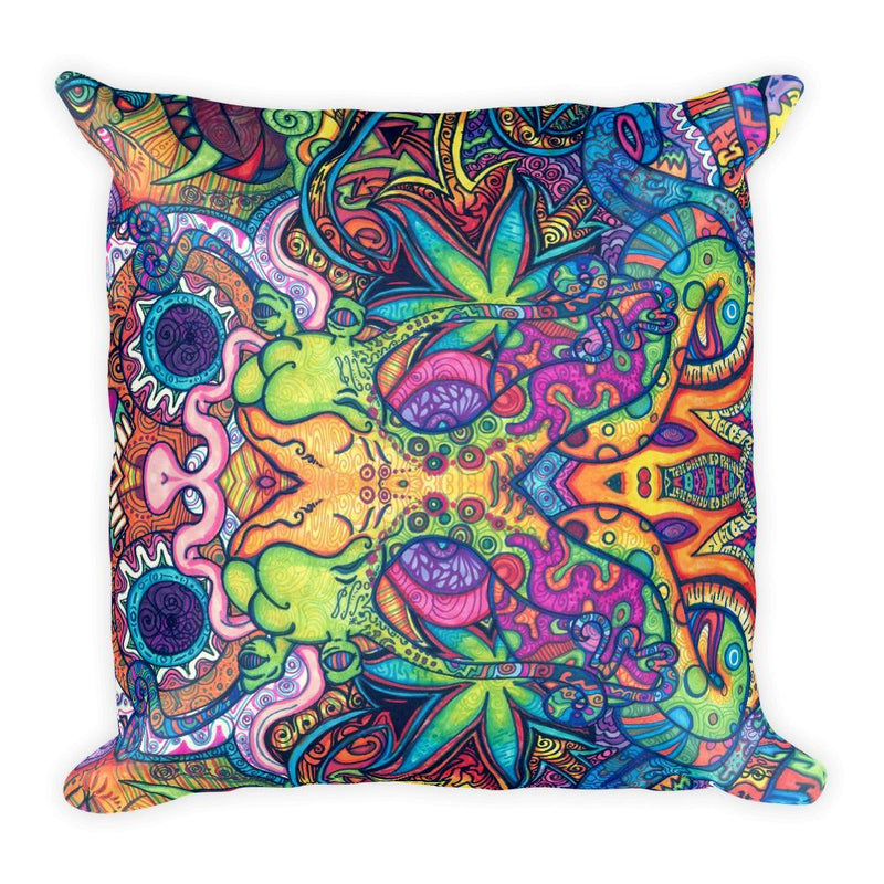 Trippy Weed Square Pillow - Hipsters Wonderland - Tumblr Clothing - Tumblr Accessories- Aesthetic Clothing - Aesthetic Accessories - Hipster's Wonderland - Hipsterswonderland