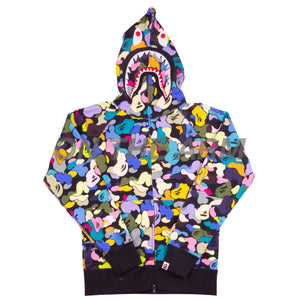 Bape Black Multi Camo Shark Full Zip
