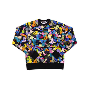 Bape Black Multi Color Camo Crew