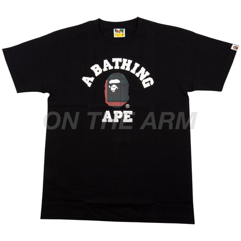 Bape Black/Green Check College Logo Tee