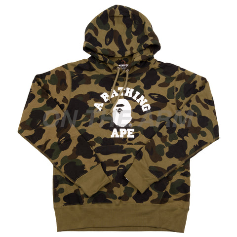 Bape Green First Camo College Logo Hoodie