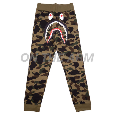 Bape Green First Camo Shark Slim Sweats