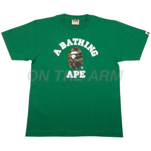Bape Green/Green First Camo College Logo Tee