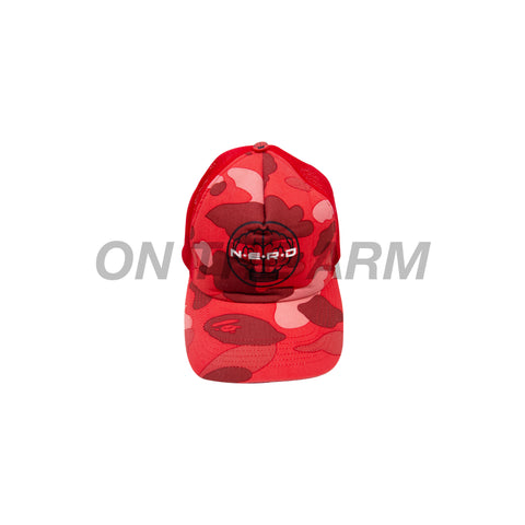 Bape Red Camo Nerd Trucker Hat