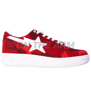 Bape Red Color Camo Bapesta
