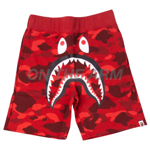 Bape Red Color Camo Shark Shorts