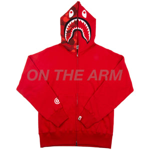 Bape Red Half Camo Shark Full Zip