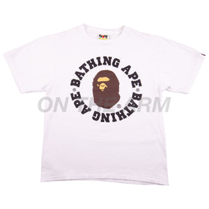 Bape White Circle Text Tee USED