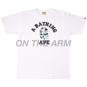 Bape White Multi Camo College Tee