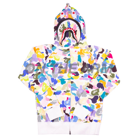 Bape White Multi Camo Shark Full Zip