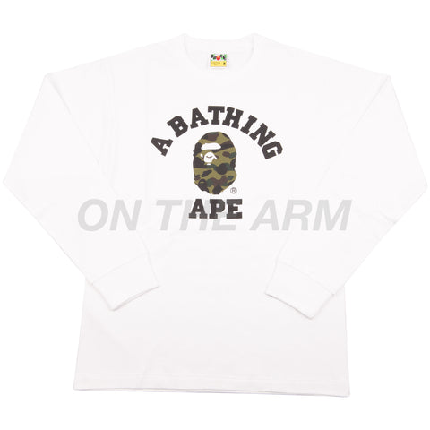 Bape White/Green First Camo L/S