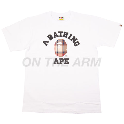 Bape White/Red Check College Logo Tee