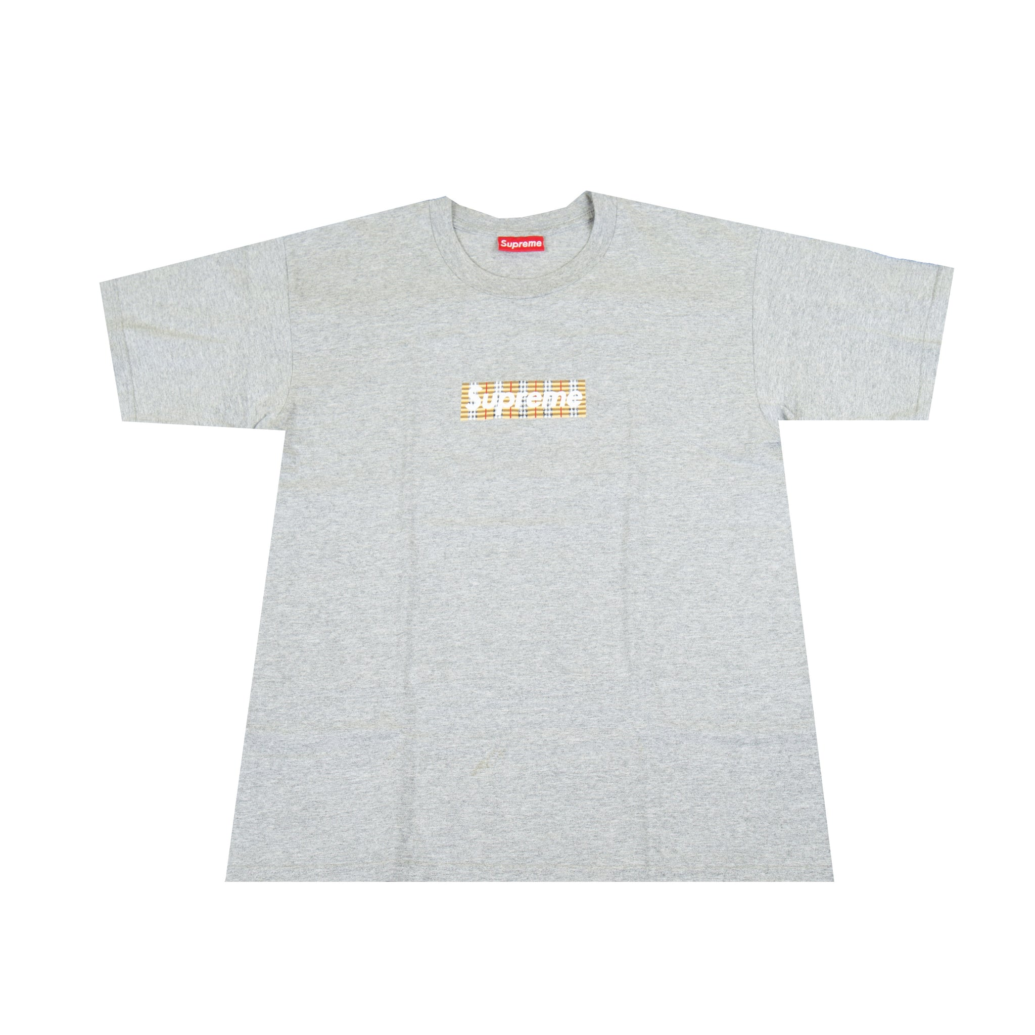 Supreme Grey Burberry Box Logo Tee