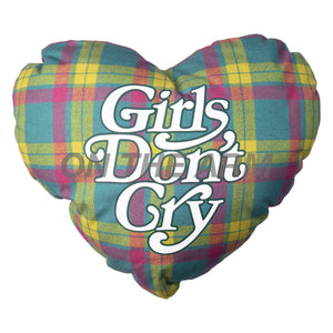 Girls Dont Cry Plaid Heart Pillow