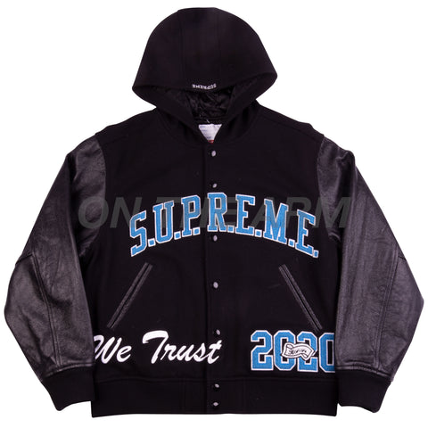 Supreme Black KING Varsity Jacket USED