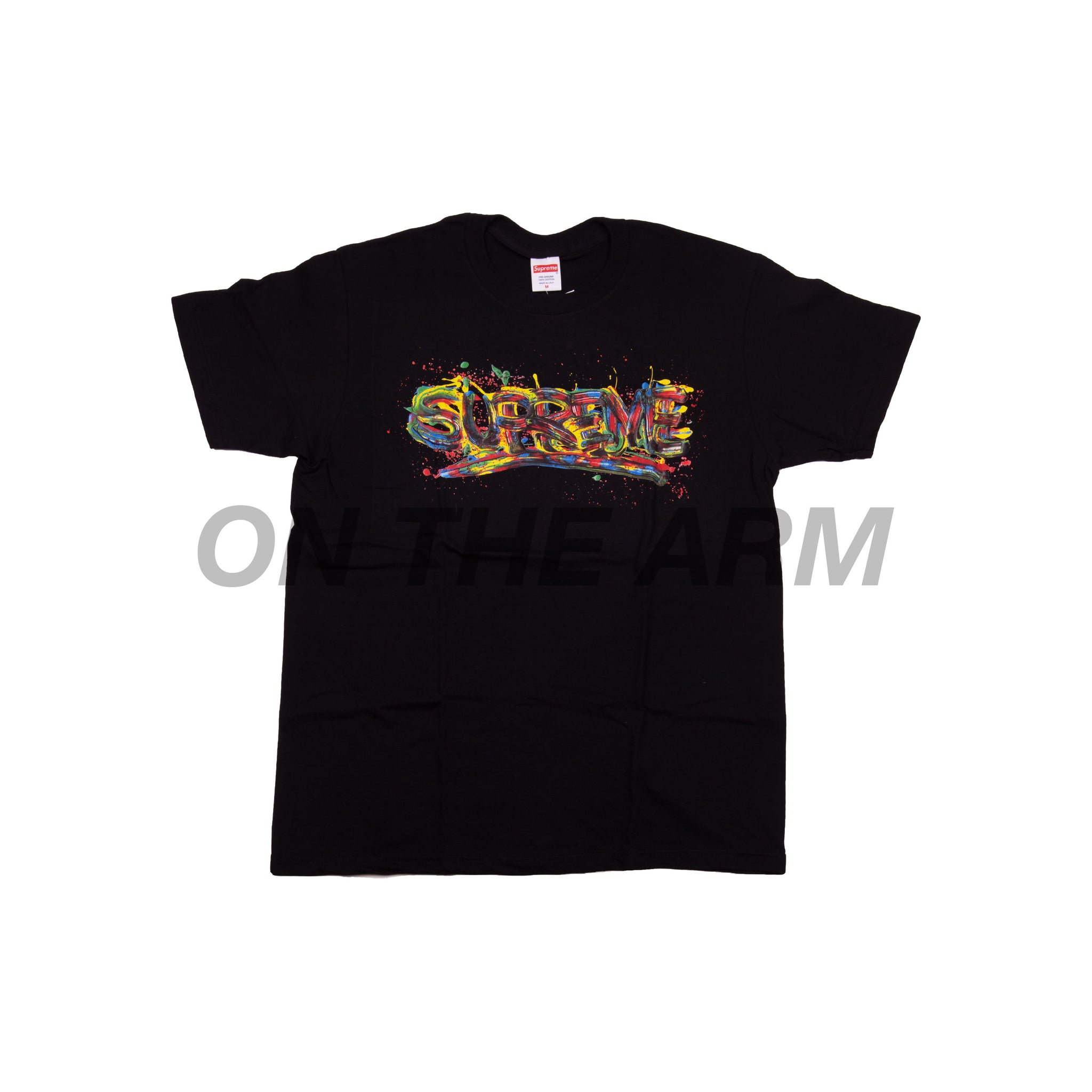 Supreme Black Paint Logo Tee