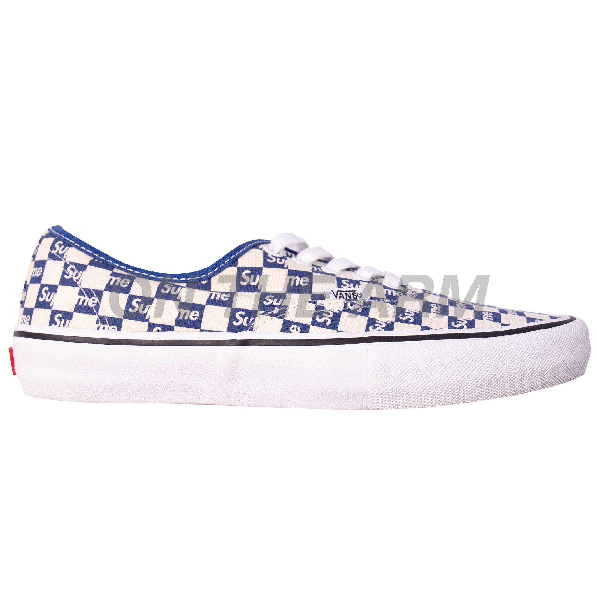 Supreme Blue Checkered Vans Authentic USED