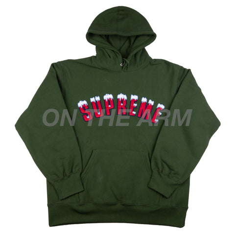 Supreme Dark Green Icy Arc Logo Hoodie