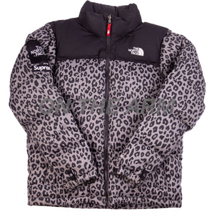 Supreme Grey TNF Leopard Nuptse Jacket USED
