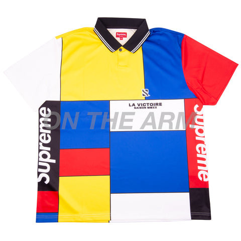 Supreme Red Color Blocked Soccer Polo