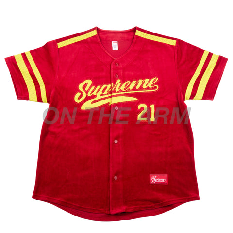 Supreme Red Velour Baseball Jersey