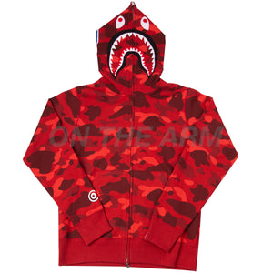 Bape Red Color Camo Shark Full Zip