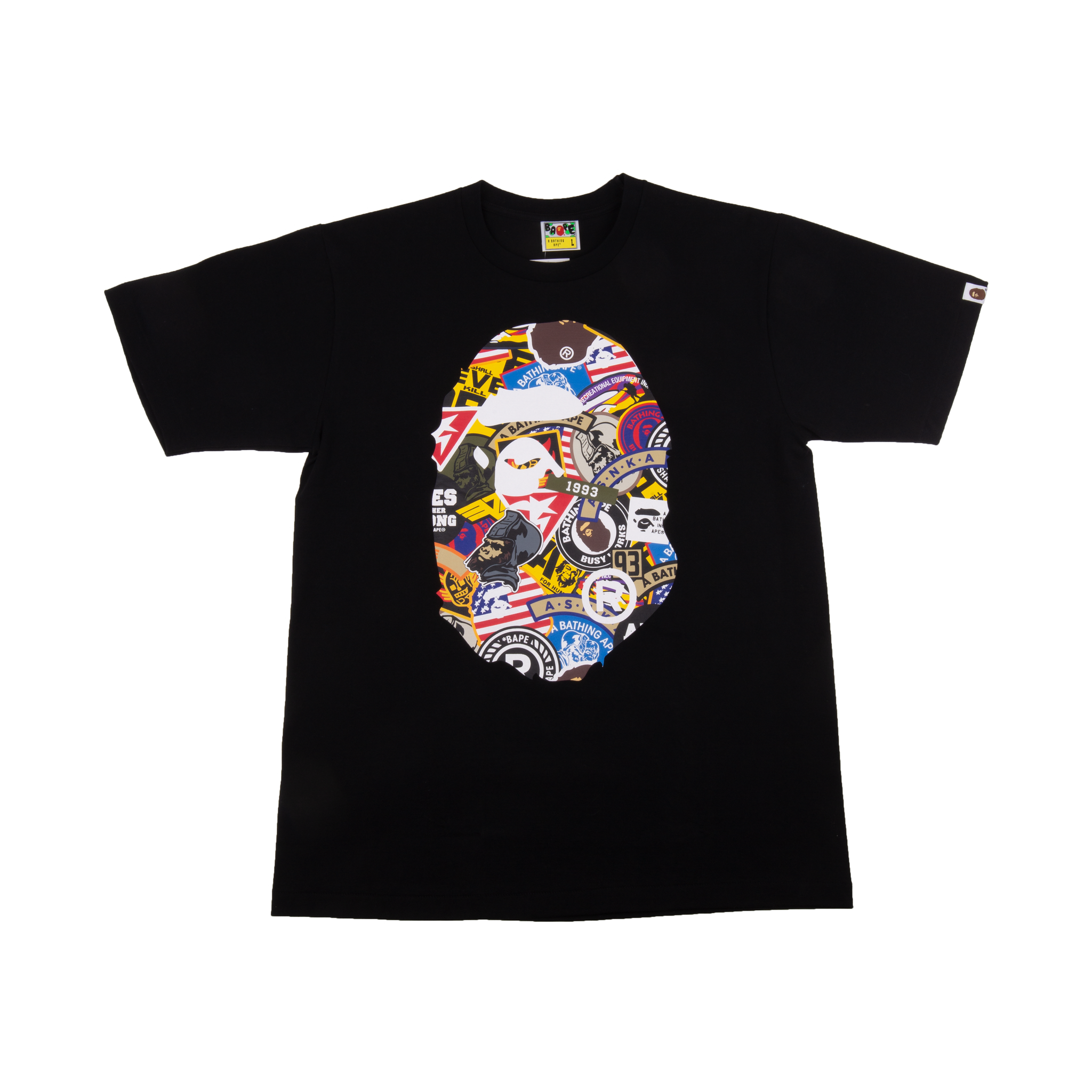 Bape Black Patched Big Ape Head Tee