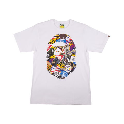 Bape White Patched Big Head Ape Tee