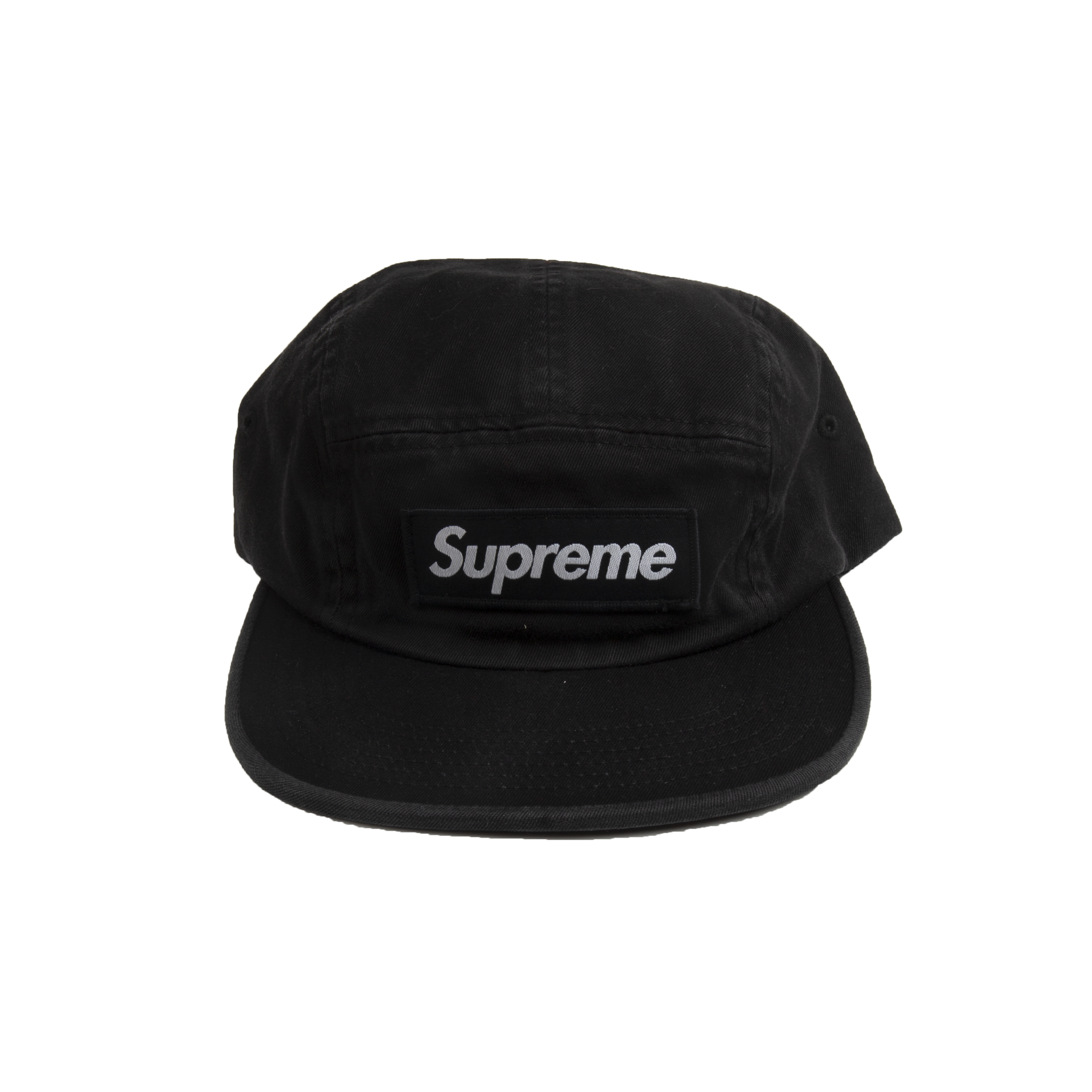 Supreme Black Washed Chino Twill Camp Cap