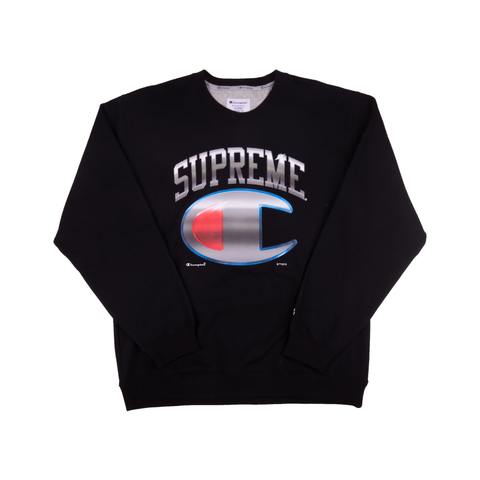 Supreme Black Champion Chrome Crew
