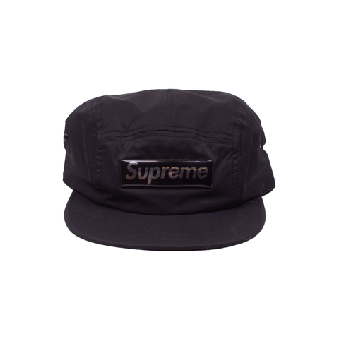 Supreme Black Liquid Metal Logo Camp Cap