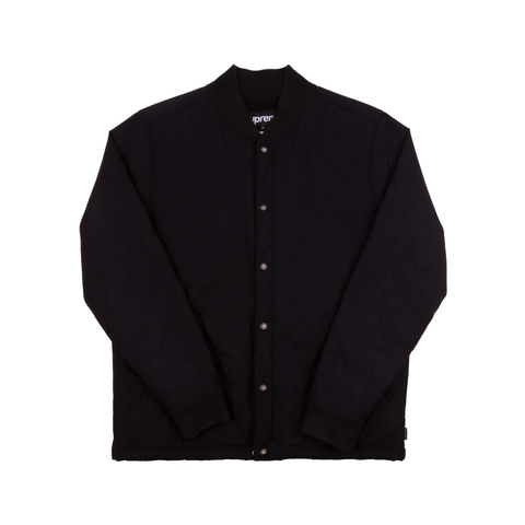 Supreme Black Waxed Cotton Quilted Jacket