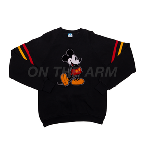 Vintage Black Striped Mickey Mouse Crew