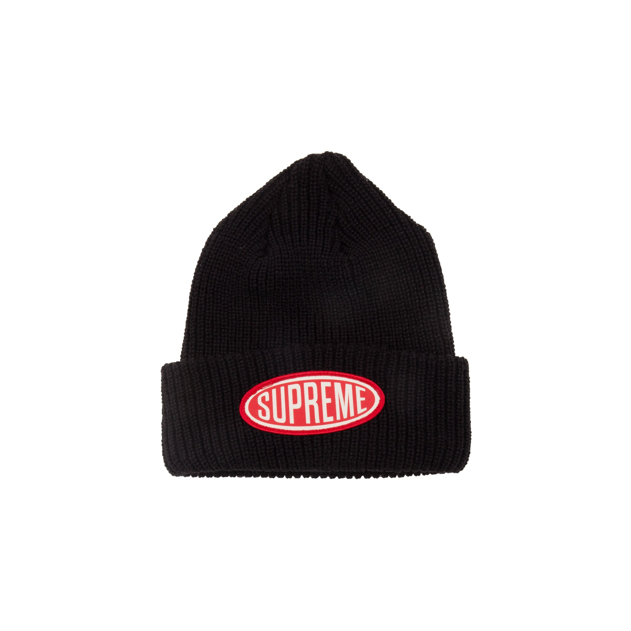 Supreme Black Oval Patch Beanie