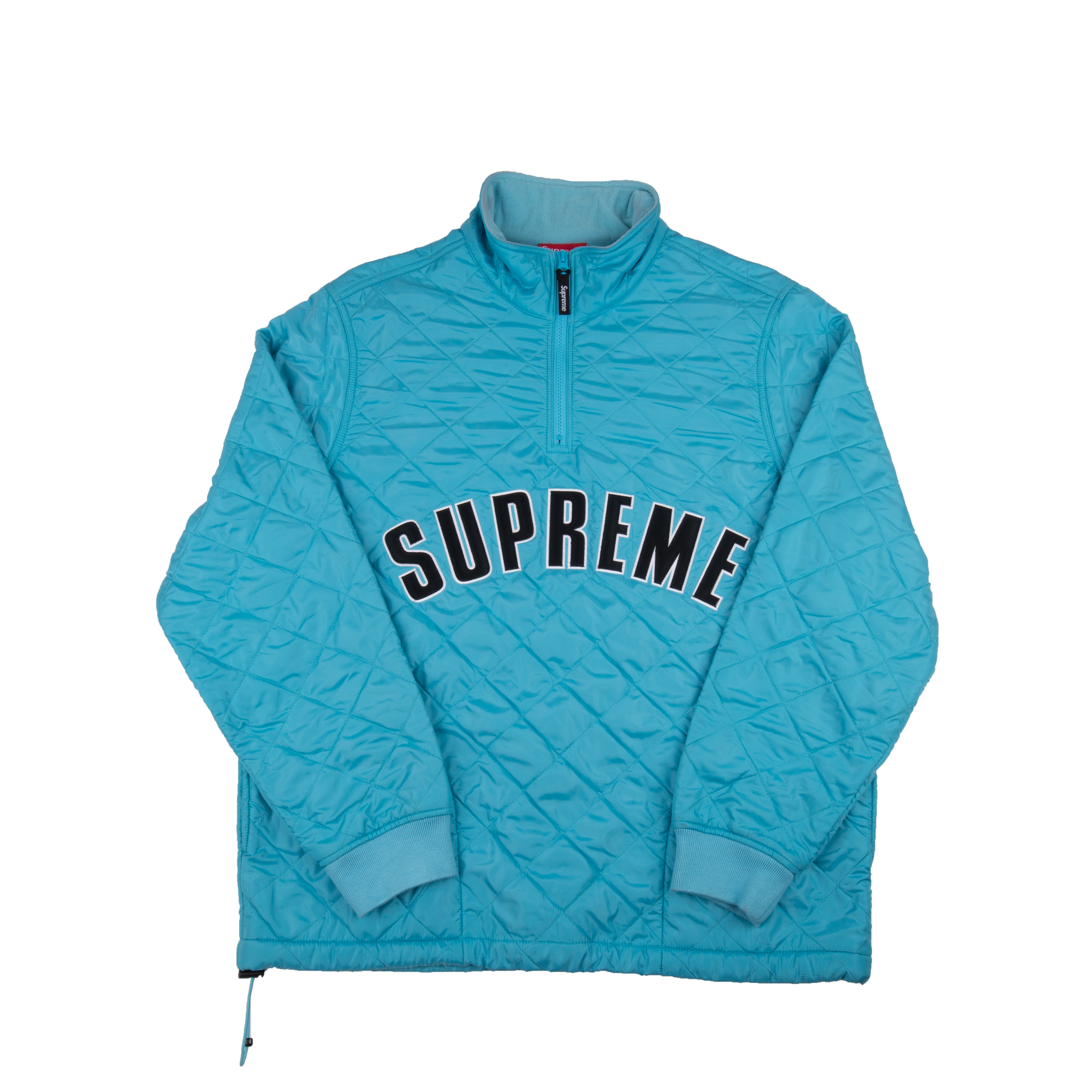 Supreme Light Blue Quilted Arc Logo Quilted Half Zip