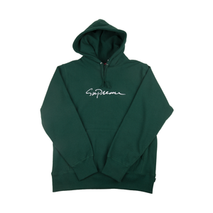 ea39d1580e1d Supreme Forest Green Classic Script Hoodie – On The Arm