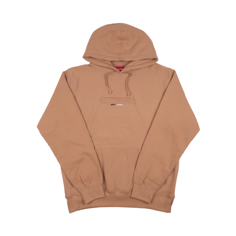 Supreme Light Brown Embossed Logo Hoodie
