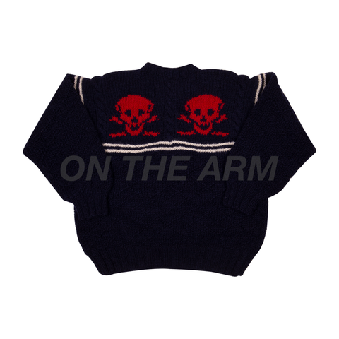 Vintae 90's Navy Skull Knit Sweater