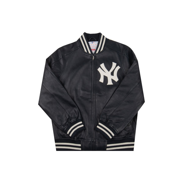Supreme Navy Yankees Leather Jacket