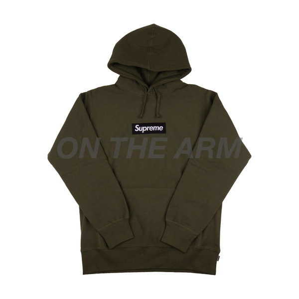 Supreme Black on Olive Box Logo Hoodie Sample