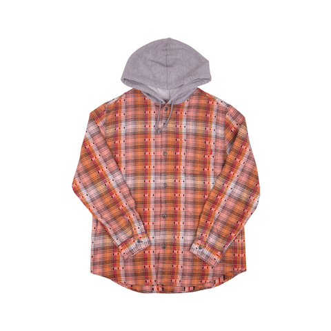 Supreme Orange Hooded Jacquard Flannel