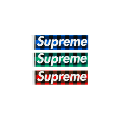 Supreme Buffalo Plaid Box Logo Stickers