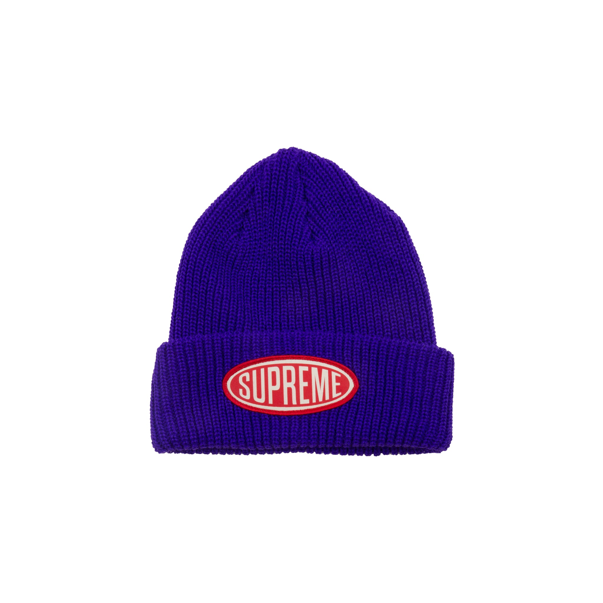 fc28f1d0ccfdd Supreme Purple Oval Patch Beanie – On The Arm