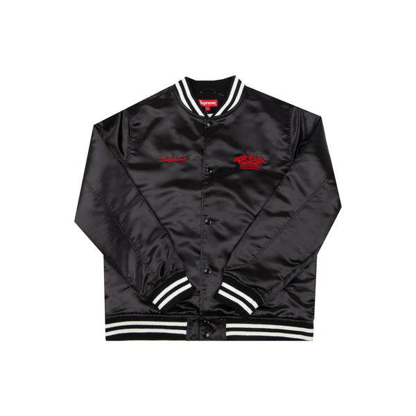 Supreme Black Rap A Lot Records Satin Varsity Jacket