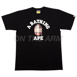Bape Black/Red Check College Logo Tee