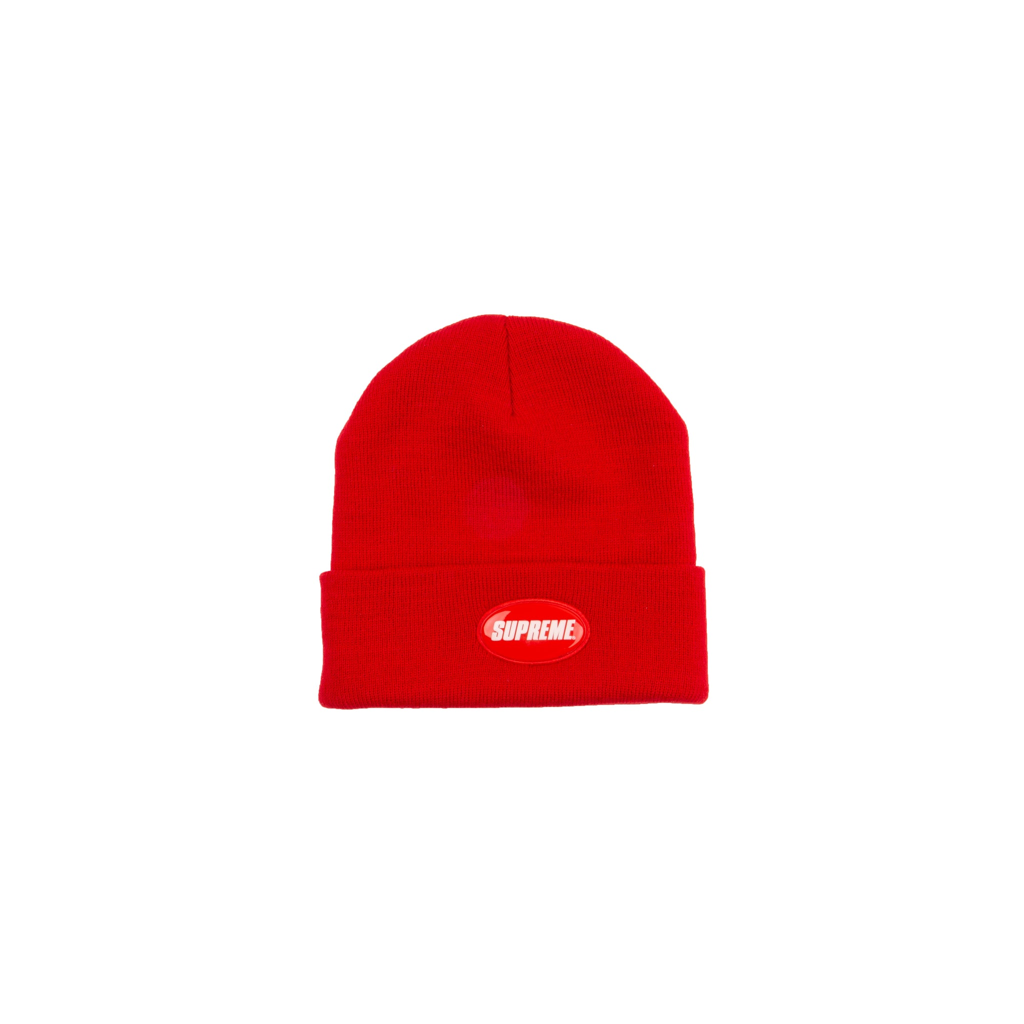 Supreme Red Rubber Patch Beanie