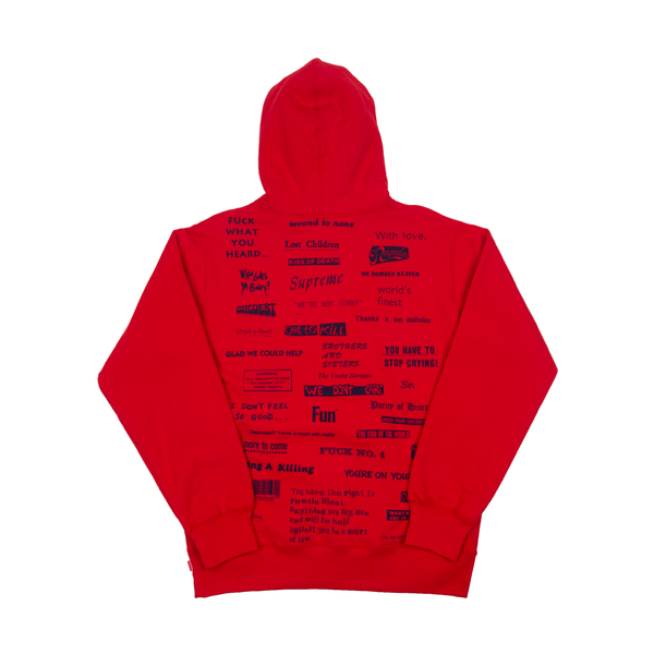 Supreme Red Stop Crying Hoodie