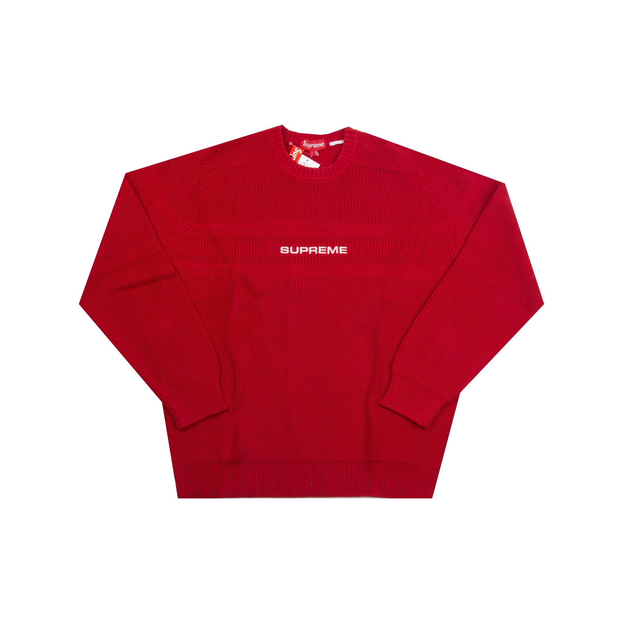 Supreme Red Chest Striped Raglan Sweater
