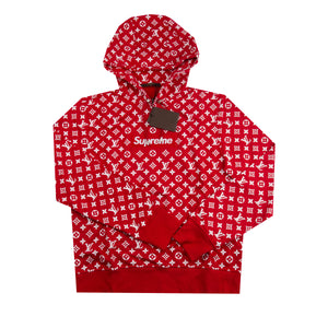 Supreme Red Louis Vuitton Box Logo Hoodie